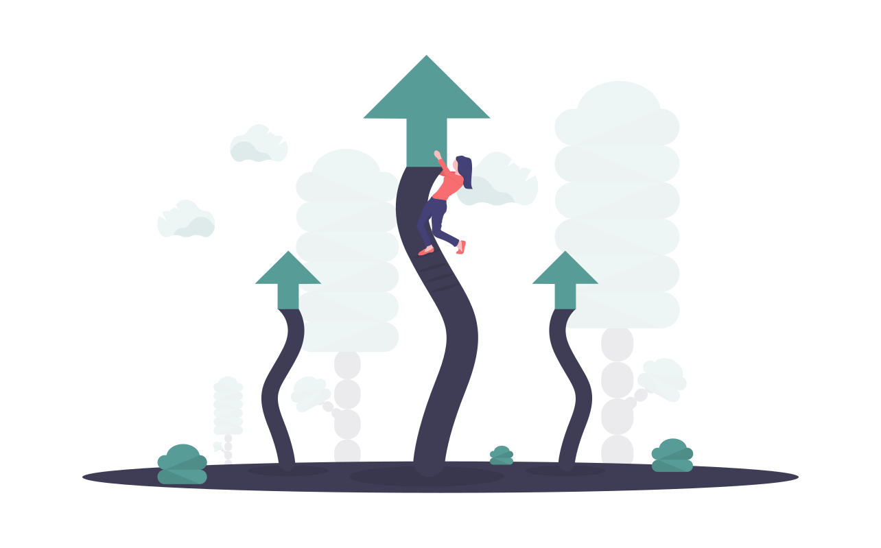 Arrows going upwards with a person near the top