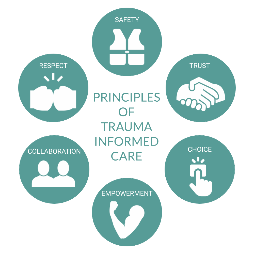 Principles of trauma informed care: safety, trust, choice, empowerment, collaboration, and respect